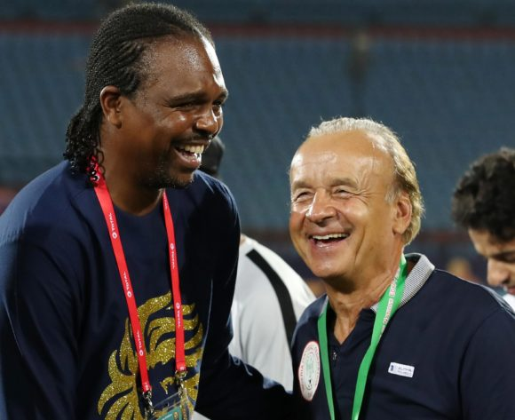 Nwankwo Kanu celebrates with Gernot Rohr, coach of Nigeria during the 2019 Africa Cup of Nations 3rd and 4th Place match between Tunisia and Nigeria at the Al Salam Stadium, Cairo on the 17 July 2019 ©Muzi Ntombela/BackpagePix
