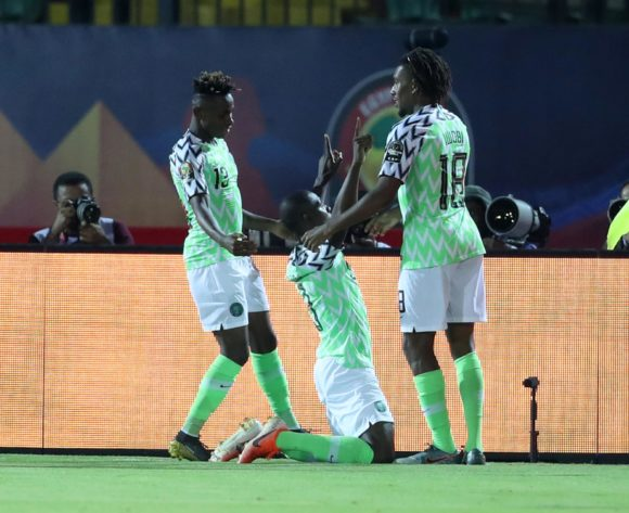 Odion Jude Ighalo of Nigeria celebrates goal with teammates during the 2019 Africa Cup of Nations Finals, 3rd and 4th place match between Tunisia and Nigeria at Al Salam Stadium, Cairo, Egypt on 17 July 2019 ©Samuel Shivambu/BackpagePix