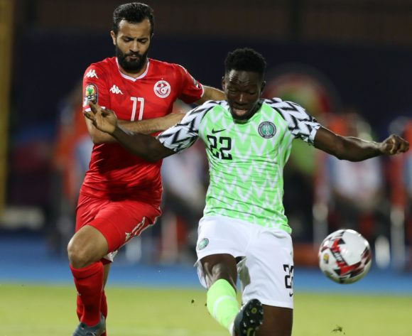 Josiah Kenneth Omeruo of Nigeria challenged by Taha Yassine Khenissi of Tunisia during the 2019 Africa Cup of Nations Finals, 3rd and 4th place match between Tunisia and Nigeria at Al Salam Stadium, Cairo, Egypt on 17 July 2019 ©Samuel Shivambu/BackpagePix