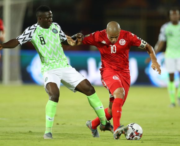 Wahbi Khazri of Tunisia challenged by Peter Etebo of Nigeria during the 2019 Africa Cup of Nations Finals, 3rd and 4th place match between Tunisia and Nigeria at Al Salam Stadium, Cairo, Egypt on 17 July 2019 ©Samuel Shivambu/BackpagePix