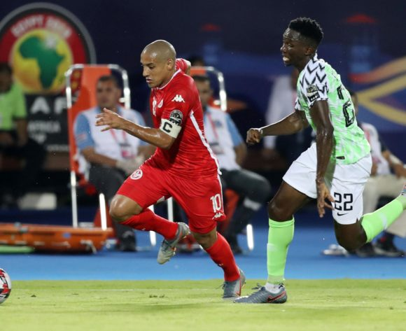 Wahbi Khazri of Tunisia challenged by Josiah Kenneth Omeruo of Nigeria during the 2019 Africa Cup of Nations Finals, 3rd and 4th place match between Tunisia and Nigeria at Al Salam Stadium, Cairo, Egypt on 17 July 2019 ©Samuel Shivambu/BackpagePix