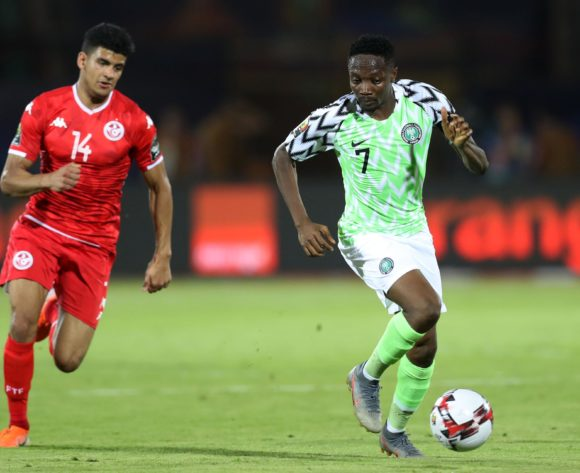 Ahmed Musa of Nigeria challenged by Drager Mohamed of Tunisia during the 2019 Africa Cup of Nations Finals, 3rd and 4th place match between Tunisia and Nigeria at Al Salam Stadium, Cairo, Egypt on 17 July 2019 ©Samuel Shivambu/BackpagePix