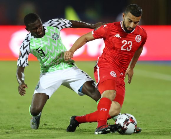 Sliti Naim of Tunisia challenged by Jamilu Collins of Nigeria during the 2019 Africa Cup of Nations Finals, 3rd and 4th place match between Tunisia and Nigeria at Al Salam Stadium, Cairo, Egypt on 17 July 2019 ©Samuel Shivambu/BackpagePix
