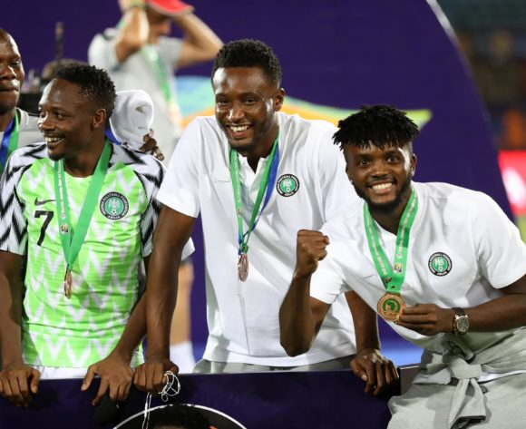 Ahmed Musa, John Obi Mikel and Collins Awaziem of Nigeria winniners the 2019 Africa Cup of Nations Finals, 3rd and 4th place match between Tunisia and Nigeria at Al Salam Stadium, Cairo, Egypt on 17 July 2019 ©Samuel Shivambu/BackpagePix