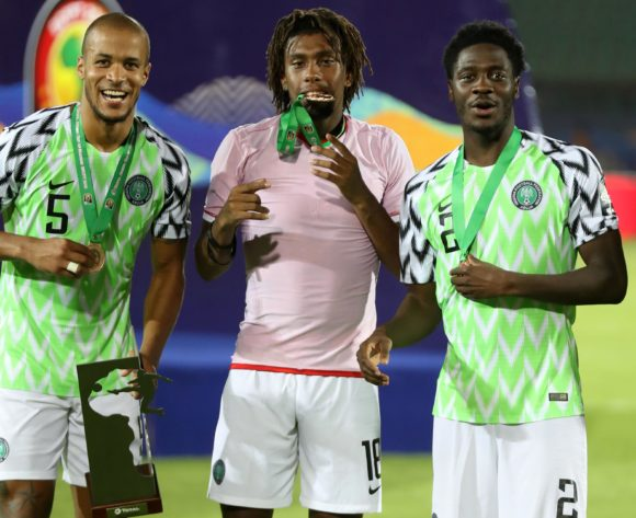 William Paul Ekong, Alexander Iwobi and Temitayo Olufisayo Aina of Nigeria celebrates winnining during the 2019 Africa Cup of Nations Finals, 3rd and 4th place match between Tunisia and Nigeria at Al Salam Stadium, Cairo, Egypt on 17 July 2019 ©Samuel Shivambu/BackpagePix