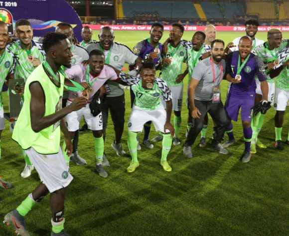 Nigeria players celebrates winning the 2019 Africa Cup of Nations Finals, 3rd and 4th place match between Tunisia and Nigeria at Al Salam Stadium, Cairo, Egypt on 17 July 2019 ©Samuel Shivambu/BackpagePix