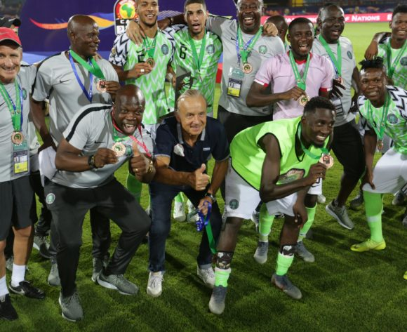 Nigeria players celebrates withGernot Rohr, head coach of Nigeria winning the 2019 Africa Cup of Nations Finals, 3rd and 4th place match between Tunisia and Nigeria at Al Salam Stadium, Cairo, Egypt on 17 July 2019 ©Samuel Shivambu/BackpagePix