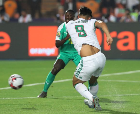 Baghdad Bounedjah of Algeria shoots  during the 2019 Africa Cup of Nations Finals Final football match between Senegal and Algeria at the Cairo International Stadium, Cairo, Egypt on 19 July 2019 ©Gavin Barker/BackpagePix