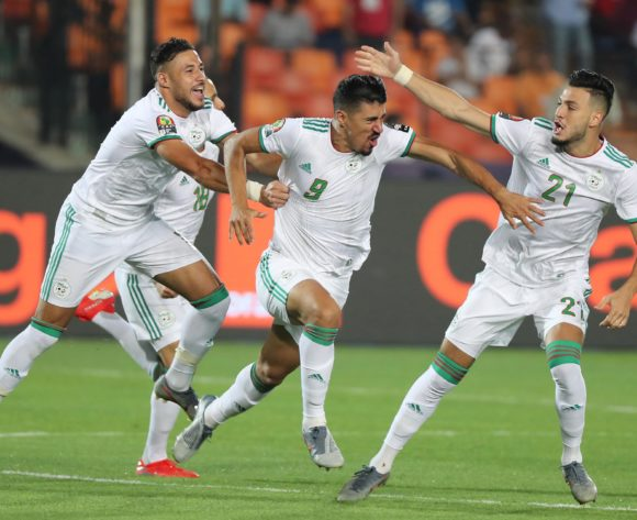 Baghdad Bounedjah of Algeria celebrates goal  during the 2019 Africa Cup of Nations Finals Final football match between Senegal and Algeria at the Cairo International Stadium, Cairo, Egypt on 19 July 2019 ©Gavin Barker/BackpagePix
