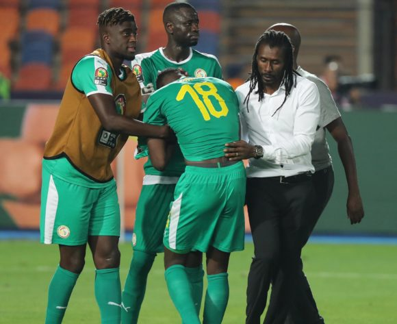 Aliou Cisse, head coach of Senegal consoles Ismaila Sarr after defeat during the 2019 Africa Cup of Nations Finals Final football match between Senegal and Algeria at the Cairo International Stadium, Cairo, Egypt on 19 July 2019 ©Gavin Barker/BackpagePix