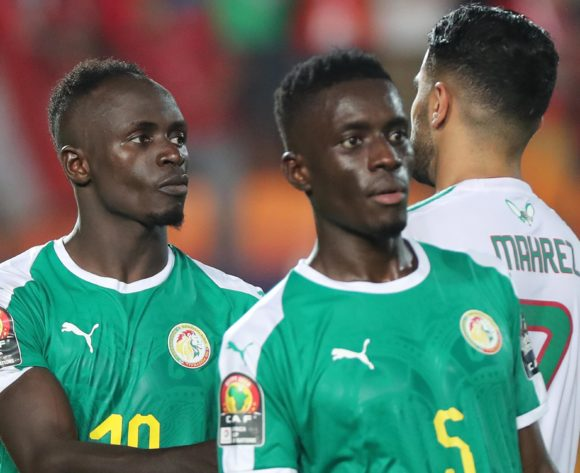 Sadio Mane of Senegal and Riyad Mahrez of Algeria during the 2019 Africa Cup of Nations Finals Final football match between Senegal and Algeria at the Cairo International Stadium, Cairo, Egypt on 19 July 2019 ©Gavin Barker/BackpagePix