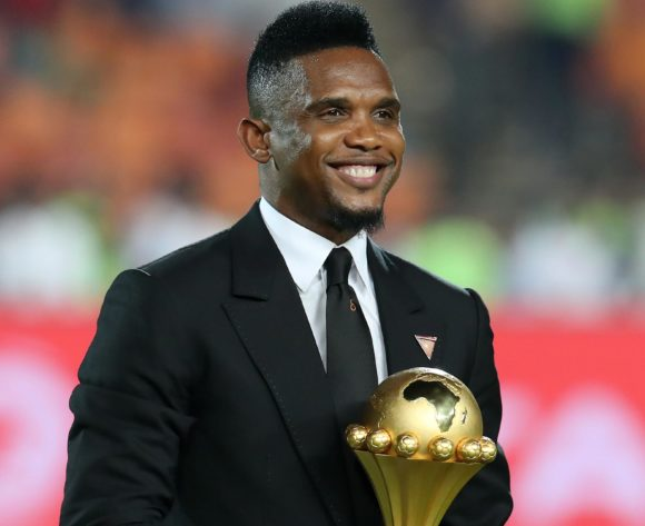 Samuel Eto'o walking with the trophy during the 2019 Africa Cup of Nations Final match between Senegal and Algeria at the Cairo International Stadium, Cairo on the 19 July 2019 ©Muzi Ntombela/BackpagePix