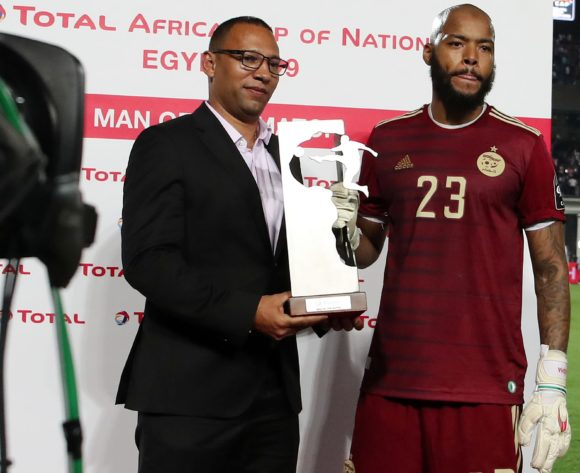 Adi Mbolhi Rais of Algeria wins the TOTAL Man of the match award during the 2019 Africa Cup of Nations Final match between Senegal and Algeria at the Cairo International Stadium, Cairo on the 19 July 2019 ©Muzi Ntombela/BackpagePix