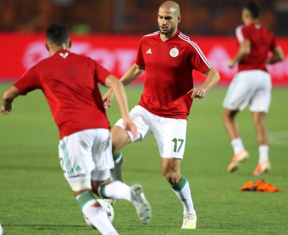 Ismael Bennacer and Adlane Guedioura of Algeria warm up during the 2019 Africa Cup of Nations Finals, Final match between Senegal and Algeria at Cairo International Stadium, Cairo, Egypt on 19 July 2019 ©Samuel Shivambu/BackpagePix