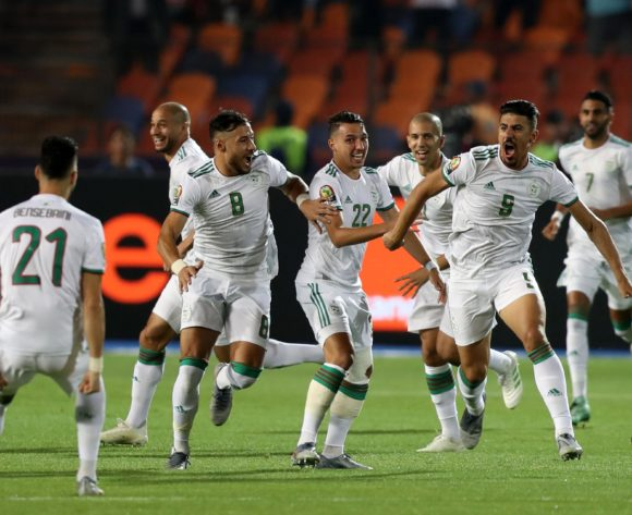 Baghdad Bounedjah of Algeria celebrates goal with teammates during the 2019 Africa Cup of Nations Finals, Final match between Senegal and Algeria at Cairo International Stadium, Cairo, Egypt on 19 July 2019 ©Samuel Shivambu/BackpagePix