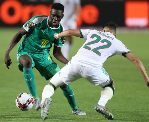 Ismaila Sarr of Senegal challenged by Ismael Bennacer of Algeria during the 2019 Africa Cup of Nations Finals, Final match between Senegal and Algeria at Cairo International Stadium, Cairo, Egypt on 19 July 2019 ©Samuel Shivambu/BackpagePix
