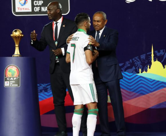 Riyad Mahrez of Algeria receive a trophy from CAF President Ahmad during the 2019 Africa Cup of Nations Finals, Final match between Senegal and Algeria at Cairo International Stadium, Cairo, Egypt on 19 July 2019 ©Samuel Shivambu/BackpagePix