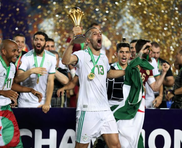 Islam Slimani of Algeria celebrates winning the 2019 Africa Cup of Nations Finals, Final match between Senegal and Algeria at Cairo International Stadium, Cairo, Egypt on 19 July 2019 ©Samuel Shivambu/BackpagePix