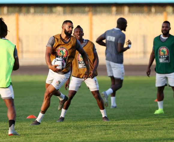 Cebio Soukou (l) during the 2019 Africa Cup of Nations Finals Benin training session in Cairo, Egypt on 04 July 2019 ©Gavin Barker/BackpagePix