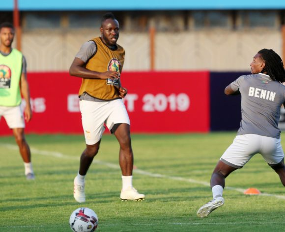 Sessi Dalmeida (r) during the 2019 Africa Cup of Nations Finals Benin training session in Cairo, Egypt on 04 July 2019 ©Gavin Barker/BackpagePix