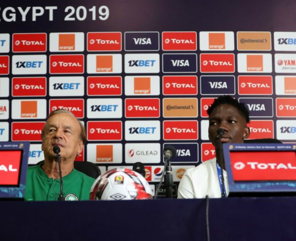 Gernot Rohr, head coach of Nigeria and Josiah Kenneth Omeruo of Nigeria during the 2019 Africa Cup of Nations Finals, semifinals Nigeria press conference at Cairo International Stadium, Cairo, Egypt on 13 July 2019 ©Samuel Shivambu/BackpagePix