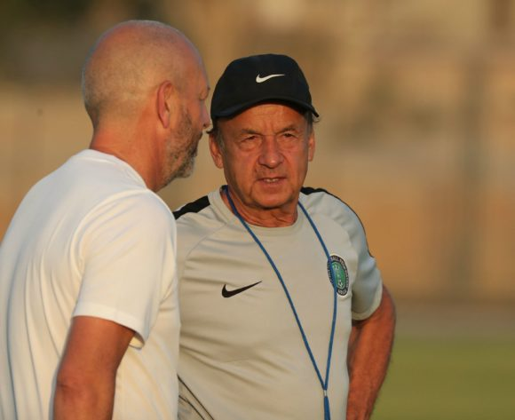 Gernot Rohr instructs during the 2019 Africa Cup of Nations Finals Nigeria training session at the Aero Sports Complex, Cairo, Egypt on 13 July 2019 ©Gavin Barker/BackpagePix