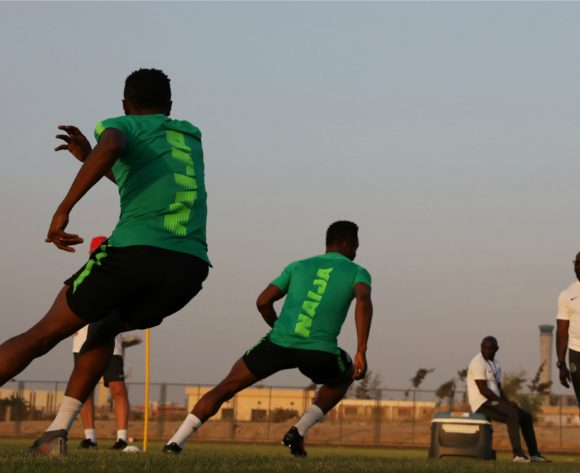 Ahmed Musa and John Obi Mikel during the 2019 Africa Cup of Nations Finals Nigeria training session at the Aero Sports Complex, Cairo, Egypt on 13 July 2019 ©Gavin Barker/BackpagePix