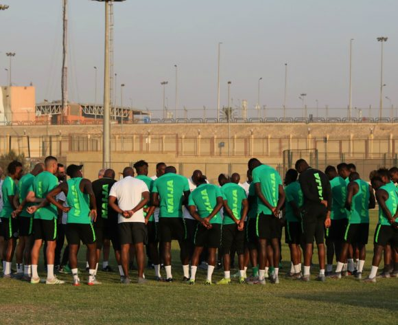 Nigeria players gather in group during the 2019 Africa Cup of Nations Finals Nigeria training session at the Aero Sports Complex, Cairo, Egypt on 13 July 2019 ©Gavin Barker/BackpagePix