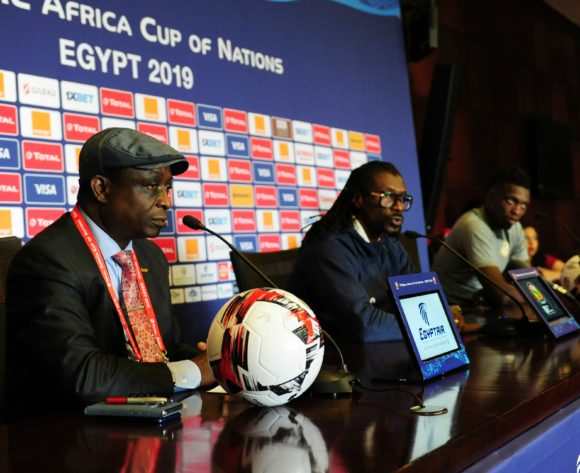 Aliou Cisse, head coach of Senegal chats to media during the Africa Cup of Nations 2019 Finals semifinal press conference for Senegal at 30 June Stadium in Cairo, Egypt on 13 July 2019 © Ryan Wilkisky/BackpagePix