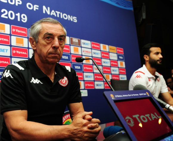 Alain Giresse, head coach of Tunisia during the Africa Cup of Nations 2019 Finals semifinal press conference for Tunisia at 30 June Stadium in Cairo, Egypt on 13 July 2019 © Ryan Wilkisky/BackpagePix