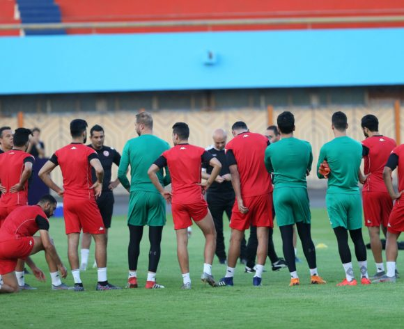 Players warm up in group during the 2019 Africa Cup of Nations Finals Tunisia training session at the El Shams Sports Complex, Cairo, Egypt on 13 July 2019 ©Alain Suffo/BackpagePix