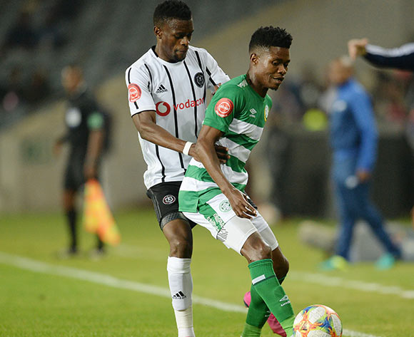 Menzi Masuku of Bloemfontein Celtic and Innocent Maela of Orlando Pirates during the Absa Premiership 2019/20 football match between Orlando Pirates and Bloemfontein Celtic at Lucas Orlando Stadium, Johannesburg on 03 August 2019 ©/BackpagePix