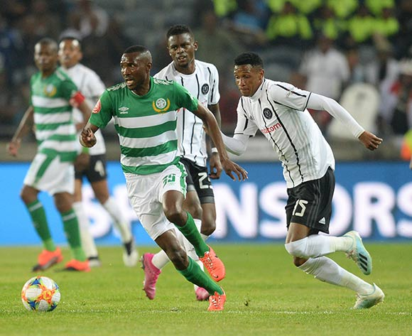 Lucky Baloyi of Bloemfontein Celtic and Vincent Pule of Orlando Pirates during the Absa Premiership 2019/20 football match between Orlando Pirates and Bloemfontein Celtic at Lucas Orlando Stadium, Johannesburg on 03 August 2019 ©/BackpagePix