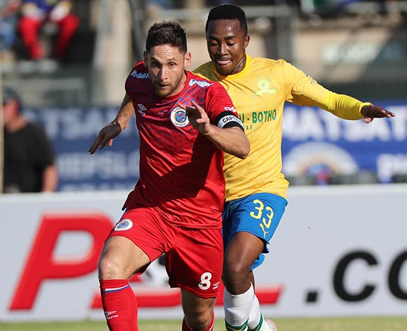Dean Furman of Supersport challenged by Lebohang Maboe of Sundowns during the Absa Premiership 2019/20 football match between Mamelodi Sundowns and SuperSport United at Lucas Moripe Stadium, Pretoria on 03 August 2019 ©Gavin Barker/BackpagePix