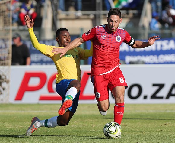 Dean Furman of Supersport fouled by Lebohang Maboe of Sundowns during the Absa Premiership 2019/20 football match between Mamelodi Sundowns and SuperSport United at Lucas Moripe Stadium, Pretoria on 03 August 2019 ©Gavin Barker/BackpagePix