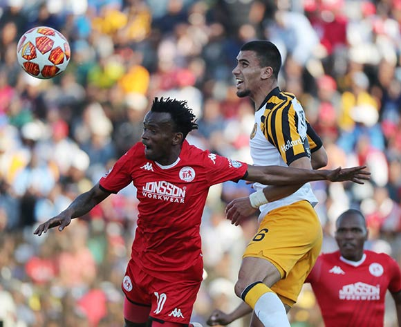 Lorenzo Gordinho of Kaizer Chiefs wins header against Luckyboy Mokoena of Highlands Park during the Absa Premiership 2019/20 football match between Highlands Park and Kaizer Chiefs at Makhulong Stadium, Tembisa on 04 August 2019 ©Gavin Barker/BackpagePix