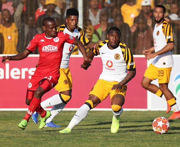 George Maluleke of Kaizer Chiefs shields ball from Lindokuhle Mbatha of Highlands Park  during the Absa Premiership 2019/20 football match between Highlands Park and Kaizer Chiefs at Makhulong Stadium, Tembisa on 04 August 2019 ©Gavin Barker/BackpagePix