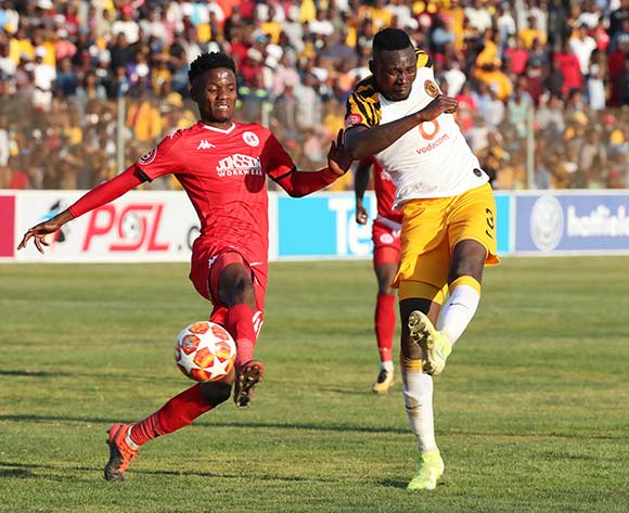 Erick Mathoho of Kaizer Chiefs shoots and scores, challenged by Sphiwe Mahlangu of Highlands Park during the Absa Premiership 2019/20 football match between Highlands Park and Kaizer Chiefs at Makhulong Stadium, Tembisa on 04 August 2019 ©Gavin Barker/BackpagePix