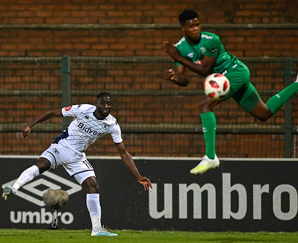 Deon Hotto of Bidvest Wits gets the ball past Sandile Khumalo of AmaZulu FC during the Absa Premiership 2019/20 football match between AmaZulu and Bidvest Wits at King Zwelithini Stadium, Durban on 03 August 2019 © Gerhard Duraan/BackpagePix