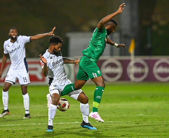 Thulani Hlatshwayo (Capt) of Bidvest Wits and Bonginkosi Ntuli of AmaZulu FC competes for the ball during the Absa Premiership 2019/20 football match between AmaZulu and Bidvest Wits at King Zwelithini Stadium, Durban on 03 August 2019 © Gerhard Duraan/BackpagePix