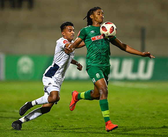 Sameehg Doutie of Bidvest Wits shoves Siyethemba Sithebe of AmaZulu FC from behind during the Absa Premiership 2019/20 football match between AmaZulu and Bidvest Wits at King Zwelithini Stadium, Durban on 03 August 2019 © Gerhard Duraan/BackpagePix