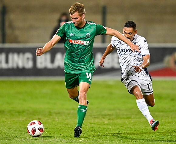 Andre de Jong of AmaZulu FC is chased by Cole Alexander of Bidvest Wits during the Absa Premiership 2019/20 football match between AmaZulu and Bidvest Wits at King Zwelithini Stadium, Durban on 03 August 2019 © Gerhard Duraan/BackpagePix