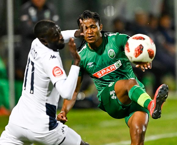 Siyethemba Sithebe of AmaZulu FC and Deon Hotto of Bidvest Wits during the Absa Premiership 2019/20 football match between AmaZulu and Bidvest Wits at King Zwelithini Stadium, Durban on 03 August 2019 © Gerhard Duraan/BackpagePix
