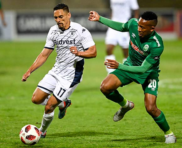 Lehlohonolo Majoro of AmaZulu FC challenges Cole Alexander of Bidvest Wits during the Absa Premiership 2019/20 football match between AmaZulu and Bidvest Wits at King Zwelithini Stadium, Durban on 03 August 2019 © Gerhard Duraan/BackpagePix