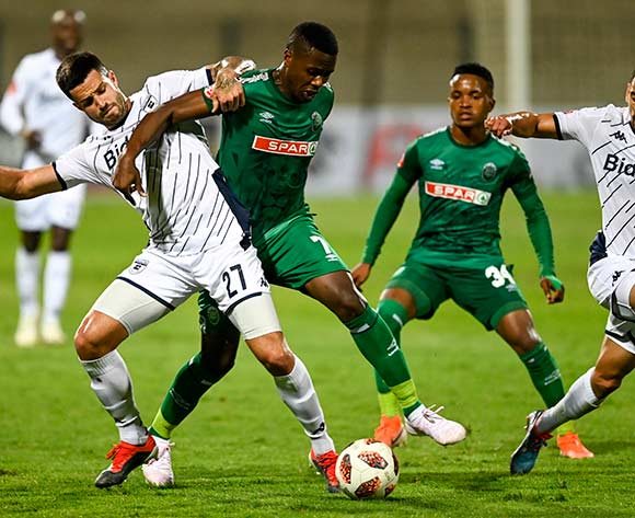 Bonginkosi Ntuli of AmaZulu FC tries to prevent Keegan Ritchie of Bidvest Wits of passing the ball too Cole Alexander of Bidvest Wits during the Absa Premiership 2019/20 football match between AmaZulu and Bidvest Wits at King Zwelithini Stadium, Durban on 03 August 2019 © Gerhard Duraan/BackpagePix