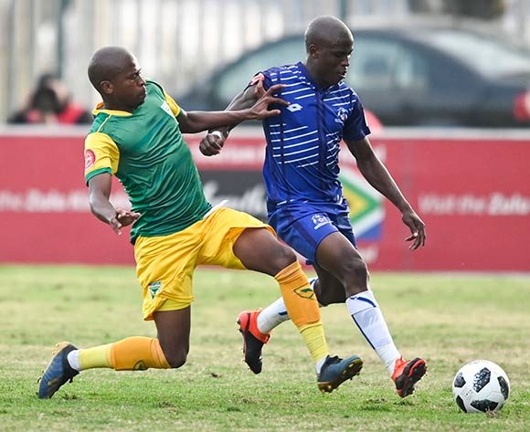 Danny Venter of Lamontville Golden Arrows and Mxolisi Kunene of Maritzburg United during the Absa Premiership 2019/20 football match between Golden Arrows and Maritzburg United at Sugar Ray Xulu Stadium, Durban on 04 August 2019 © Gerhard Duraan/BackpagePix