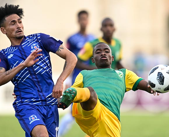 Siyabonga Dube of Lamontville Golden Arrows keeps the fallaway from Daylon Claasen of Maritzburg United during the Absa Premiership 2019/20 football match between Golden Arrows and Maritzburg United at Sugar Ray Xulu Stadium, Durban on 04 August 2019 © Gerhard Duraan/BackpagePix