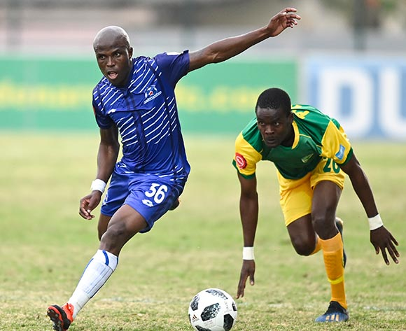 Matome Mathiane of Lamontville of Golden Arrows challenges Mxolisi Kunene of Maritzburg United during the Absa Premiership 2019/20 football match between Golden Arrows and Maritzburg United at Sugar Ray Xulu Stadium, Durban on 04 August 2019 © Gerhard Duraan/BackpagePix