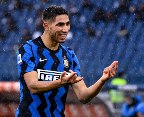 Inter's Achraf Hakimi celebrates his goal