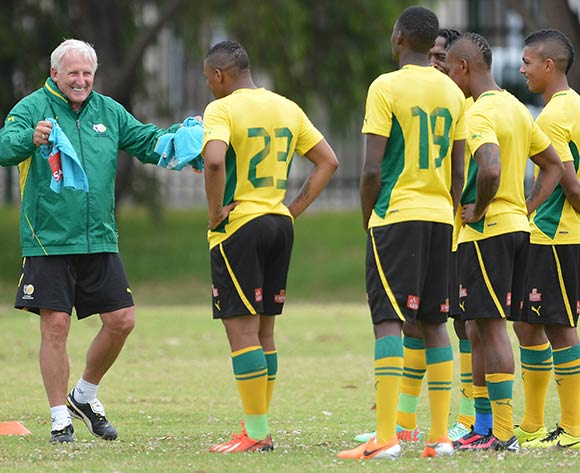 Gordon Igesund, Coach of South Africa reacts, issues instructions during the 2014 CAF African Nations Championships South Africa Training Session at Lansdowne, Cape Town on 5 January 2014